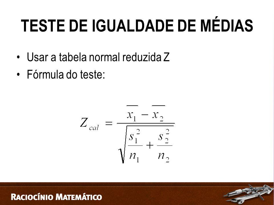 TESTE DE IGUALDADE DE MÉDIAS
