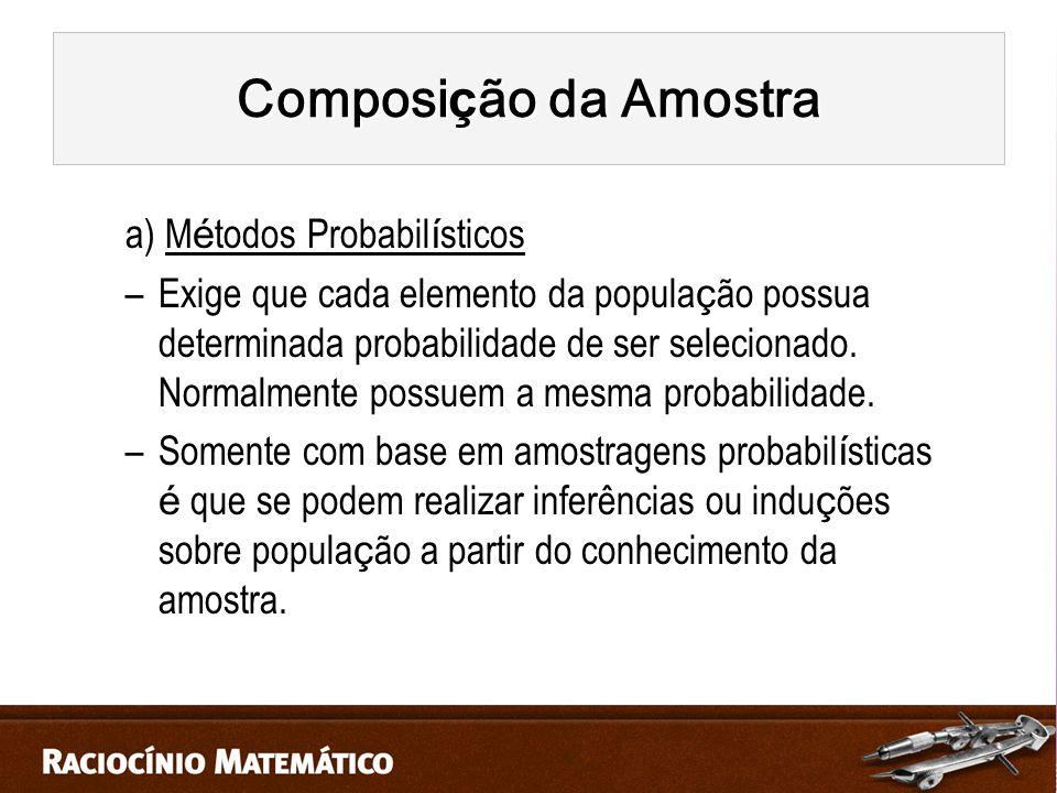 Composição da Amostra a) Métodos Probabilísticos