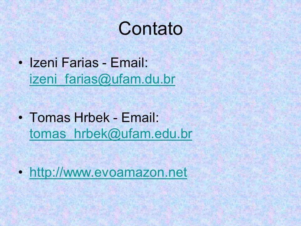 Contato Izeni Farias - Email: izeni_farias@ufam.du.br. Tomas Hrbek - Email: tomas_hrbek@ufam.edu.br.