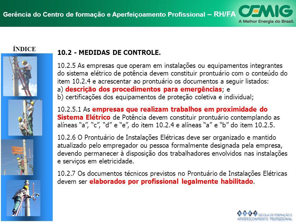 TÍTULO ÍNDICE 10.2 - MEDIDAS DE CONTROLE.