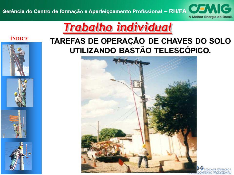 TAREFAS DE OPERAÇÃO DE CHAVES DO SOLO UTILIZANDO BASTÃO TELESCÓPICO.