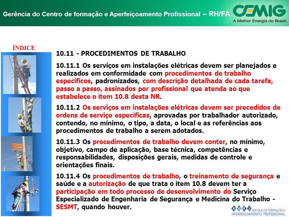 TÍTULO ÍNDICE 10.11 - PROCEDIMENTOS DE TRABALHO