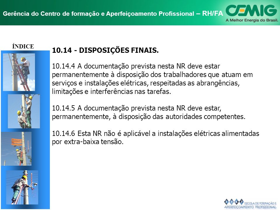 ÍNDICE 10.14 - DISPOSIÇÕES FINAIS.
