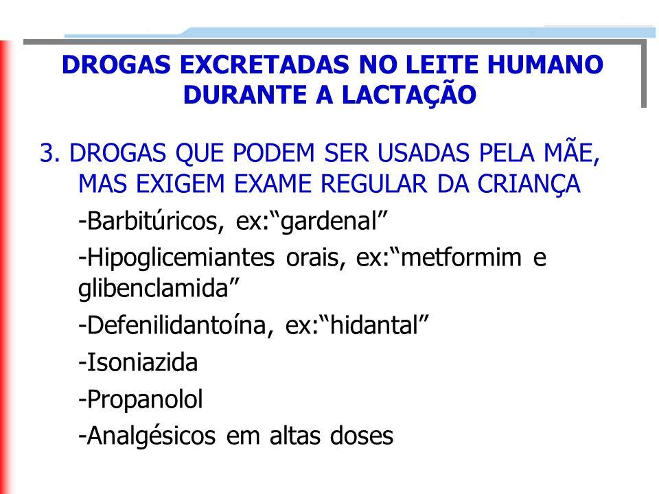 DROGAS EXCRETADAS NO LEITE HUMANO DURANTE A LACTAÇÃO