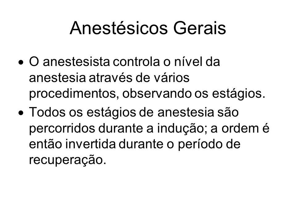 Anestésicos Gerais O anestesista controla o nível da anestesia através de vários procedimentos, observando os estágios.