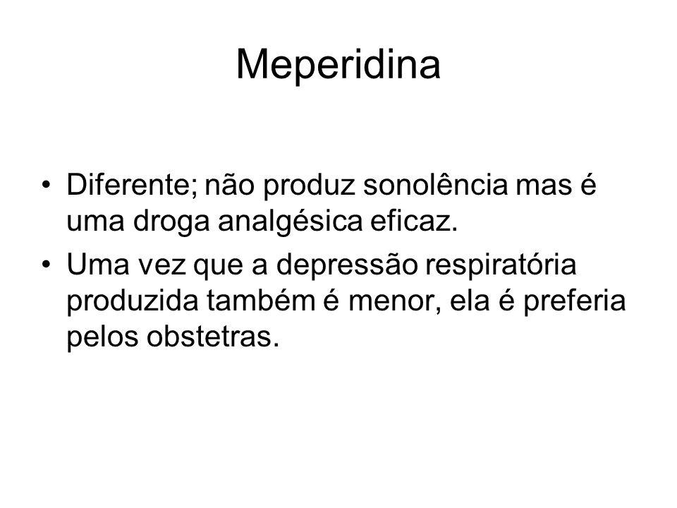 Meperidina Diferente; não produz sonolência mas é uma droga analgésica eficaz.