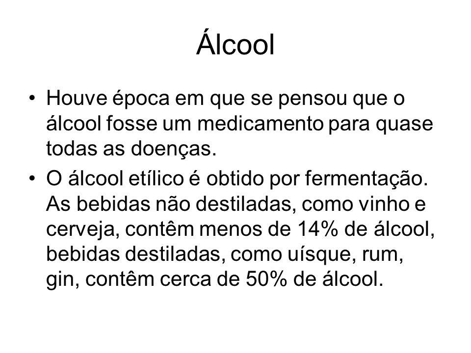 Álcool Houve época em que se pensou que o álcool fosse um medicamento para quase todas as doenças.