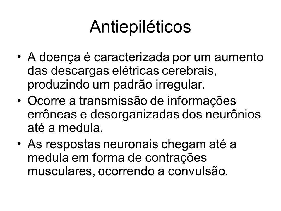 Antiepiléticos A doença é caracterizada por um aumento das descargas elétricas cerebrais, produzindo um padrão irregular.