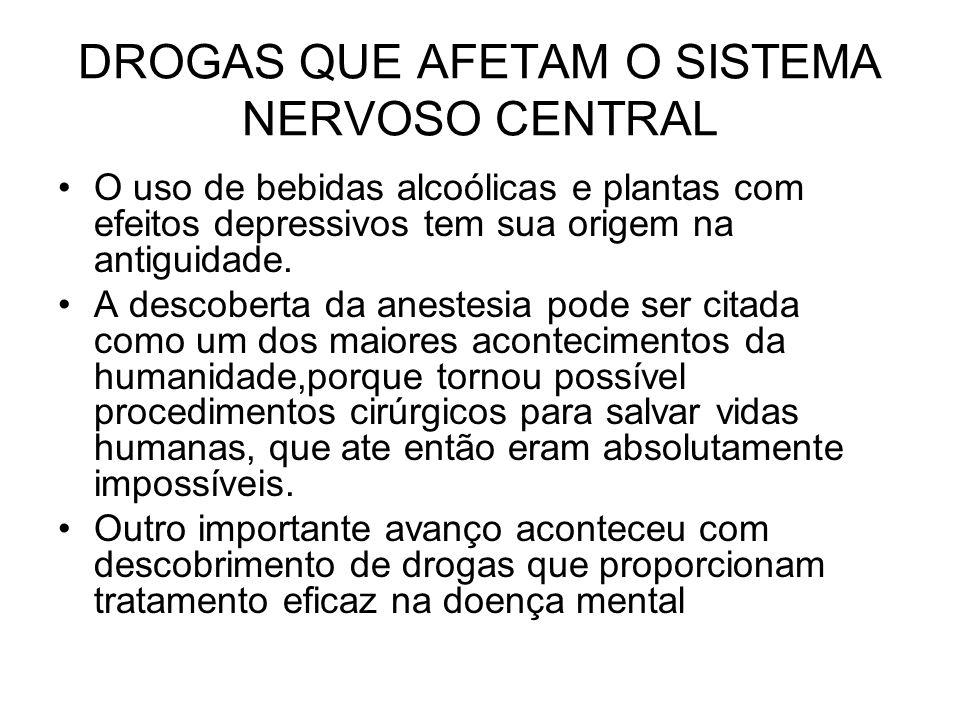 DROGAS QUE AFETAM O SISTEMA NERVOSO CENTRAL