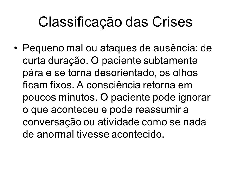 Classificação das Crises