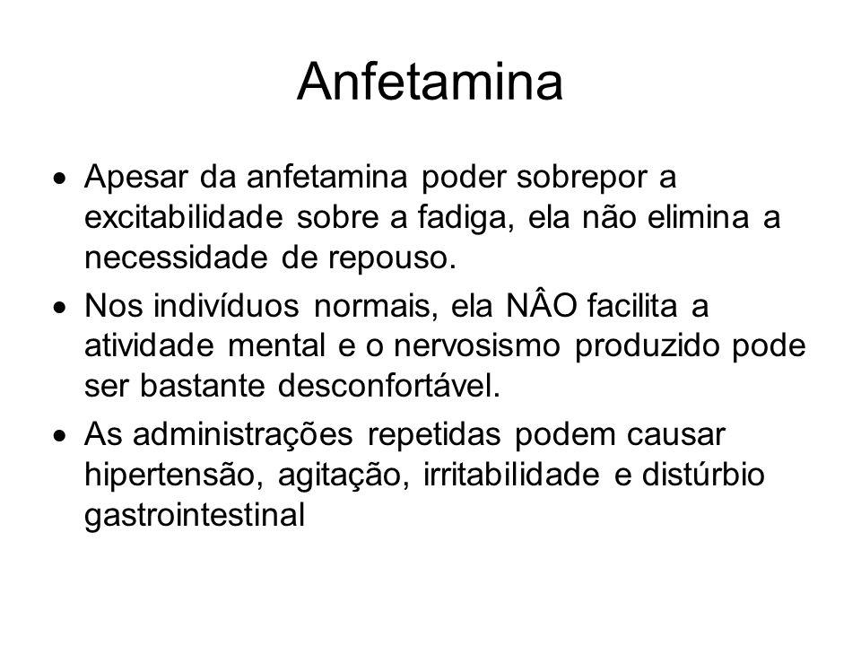 Anfetamina Apesar da anfetamina poder sobrepor a excitabilidade sobre a fadiga, ela não elimina a necessidade de repouso.