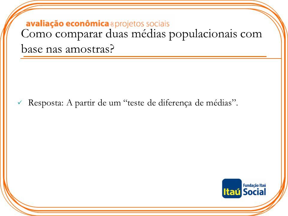 Como comparar duas médias populacionais com base nas amostras