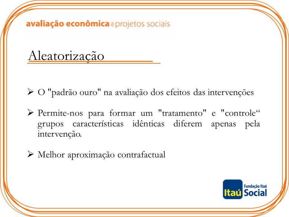 Aleatorização O padrão ouro na avaliação dos efeitos das intervenções.
