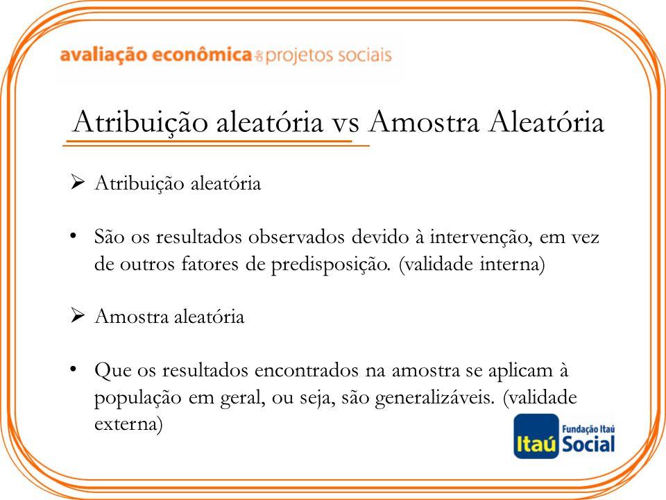 Atribuição aleatória vs Amostra Aleatória