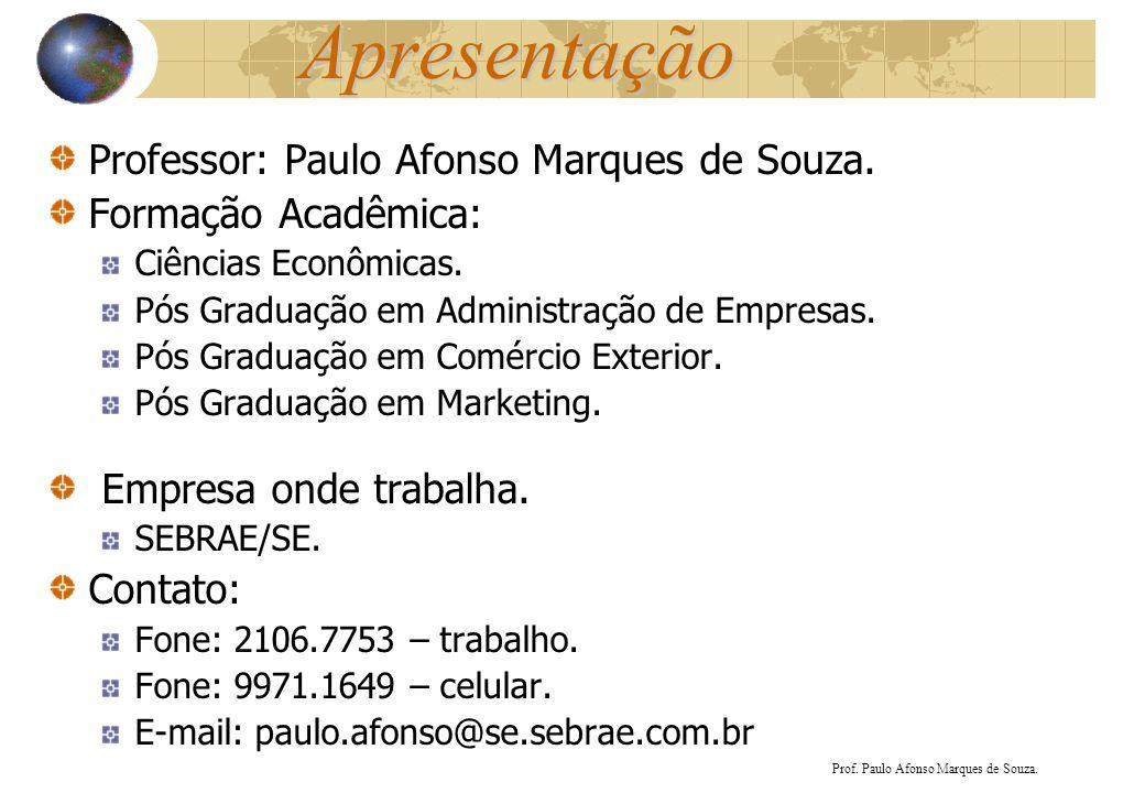 Apresentação Professor: Paulo Afonso Marques de Souza.