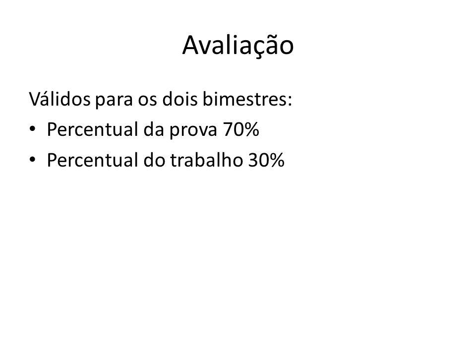 Avaliação Válidos para os dois bimestres: Percentual da prova 70%