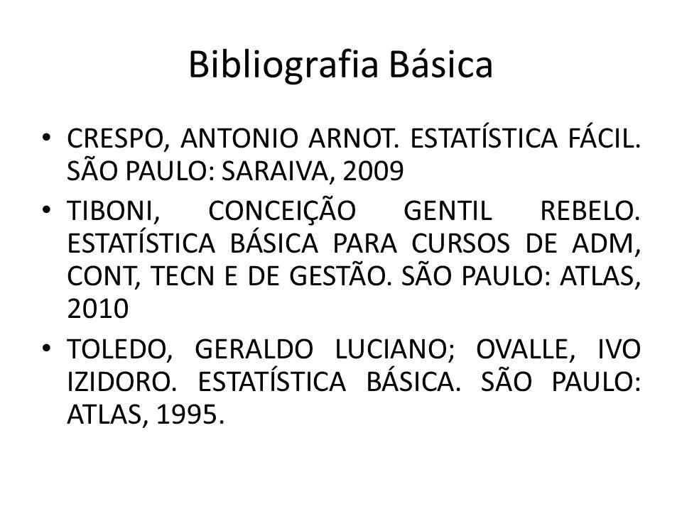 Bibliografia Básica CRESPO, ANTONIO ARNOT. ESTATÍSTICA FÁCIL. SÃO PAULO: SARAIVA, 2009.