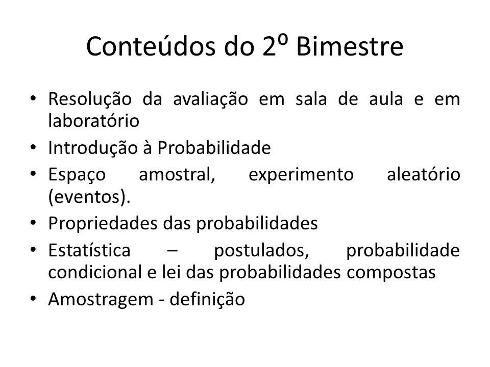 Conteúdos do 2⁰ Bimestre
