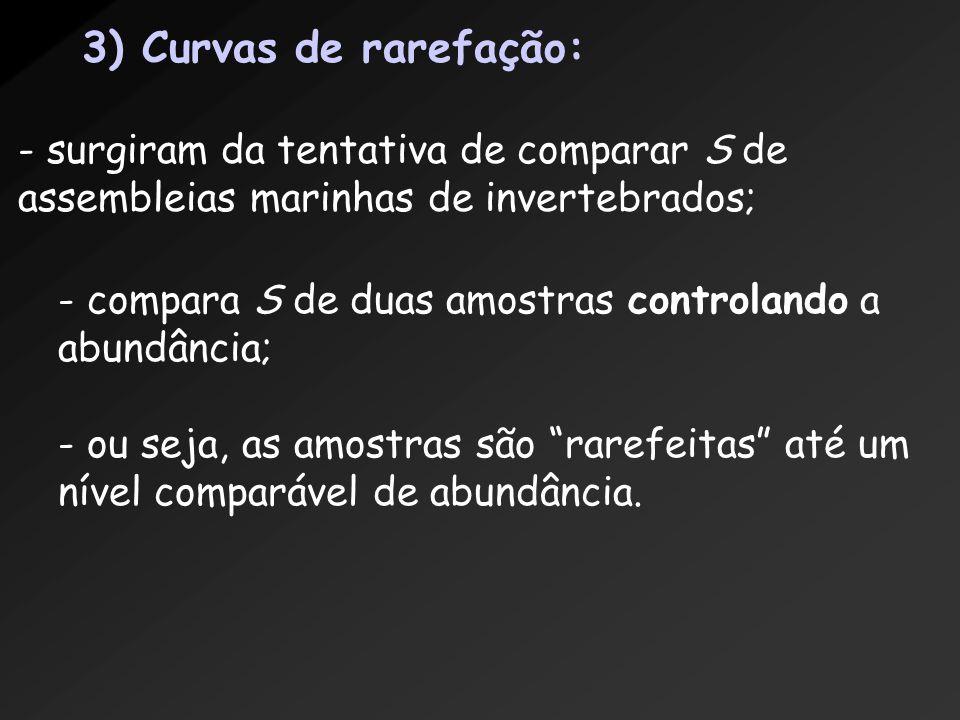 3) Curvas de rarefação: - surgiram da tentativa de comparar S de assembleias marinhas de invertebrados;