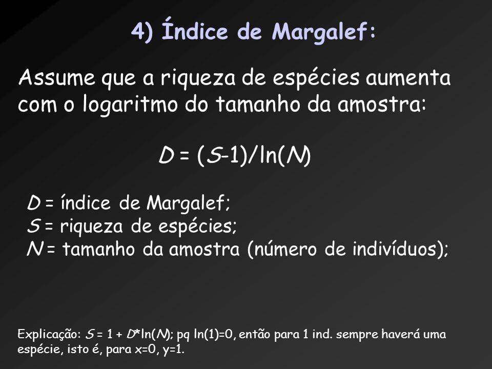 4) Índice de Margalef: Assume que a riqueza de espécies aumenta com o logaritmo do tamanho da amostra: