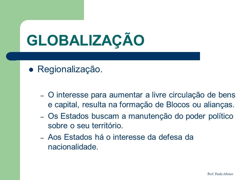 GLOBALIZAÇÃO Regionalização.