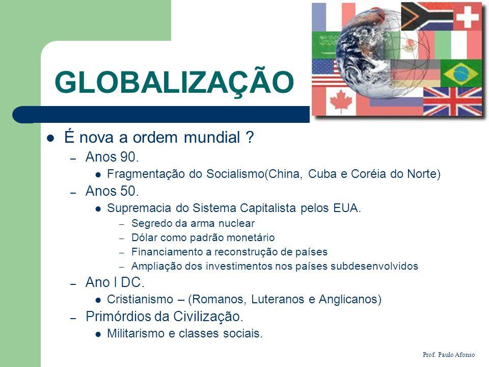 GLOBALIZAÇÃO É nova a ordem mundial Anos 90. Anos 50. Ano I DC.