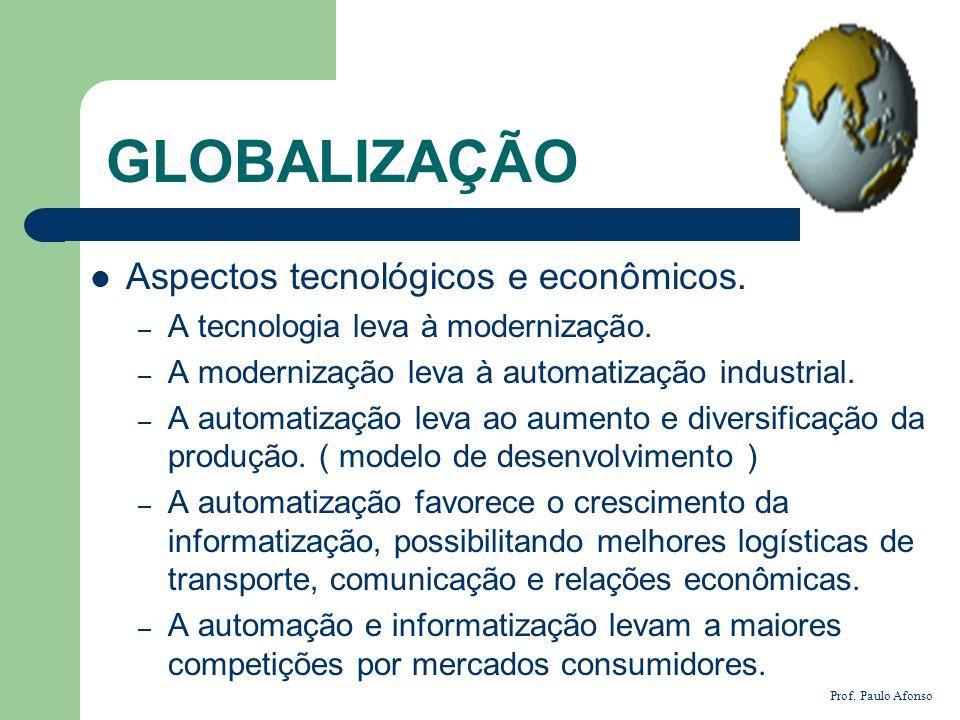 GLOBALIZAÇÃO Aspectos tecnológicos e econômicos.