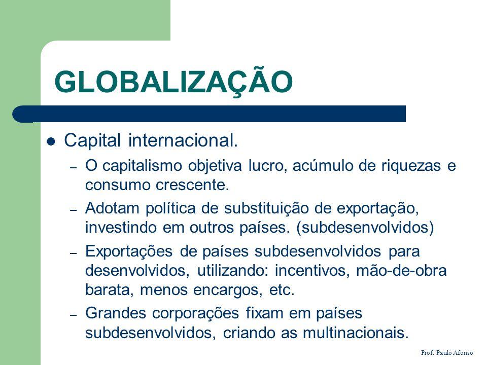GLOBALIZAÇÃO Capital internacional.