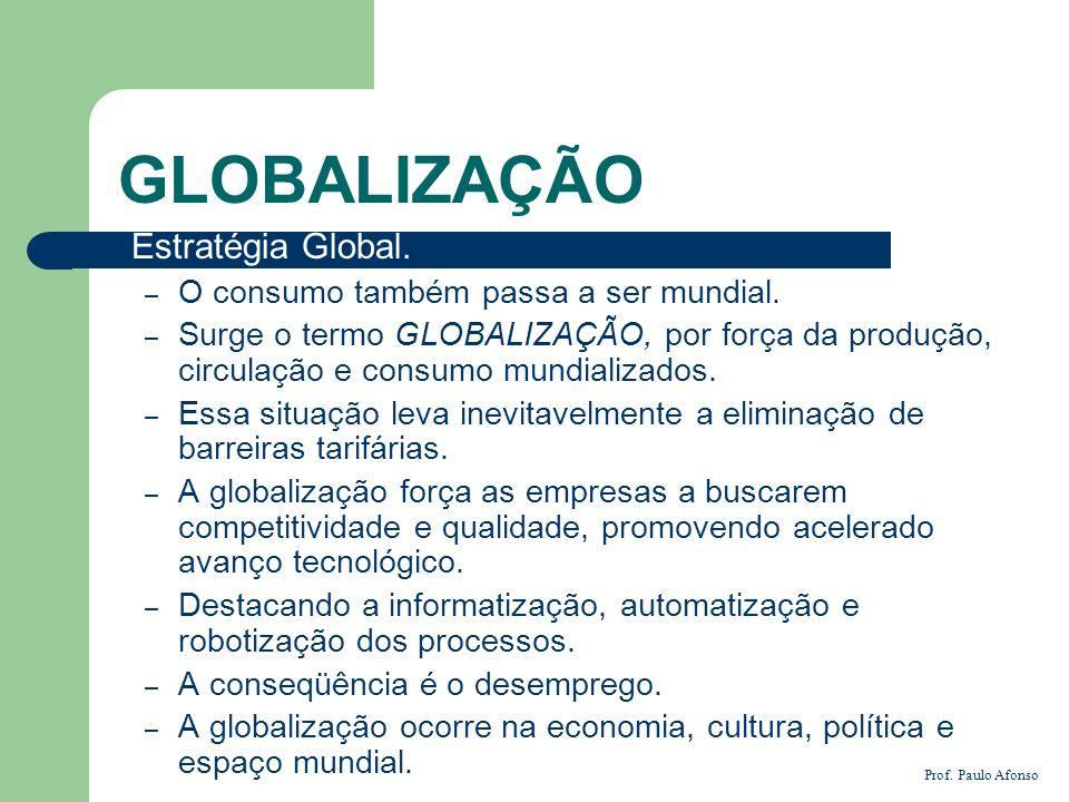 GLOBALIZAÇÃO Estratégia Global. O consumo também passa a ser mundial.