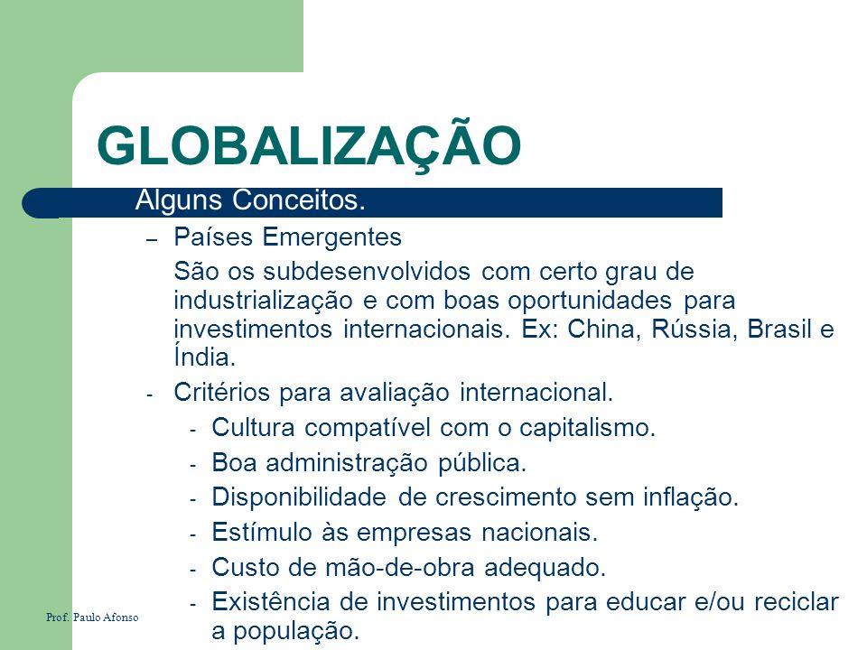GLOBALIZAÇÃO Alguns Conceitos. Países Emergentes