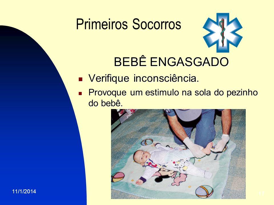 Primeiros Socorros BEBÊ ENGASGADO Verifique inconsciência.