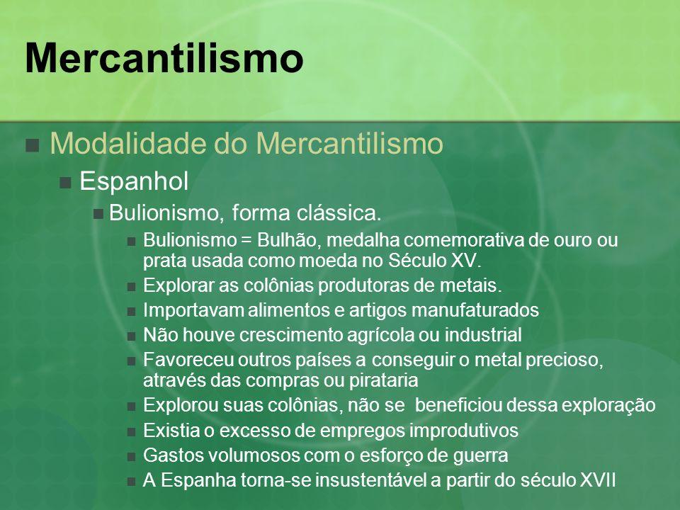 Mercantilismo Modalidade do Mercantilismo Espanhol