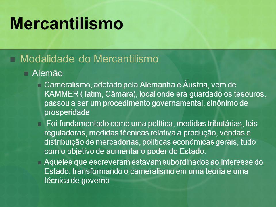 Mercantilismo Modalidade do Mercantilismo Alemão
