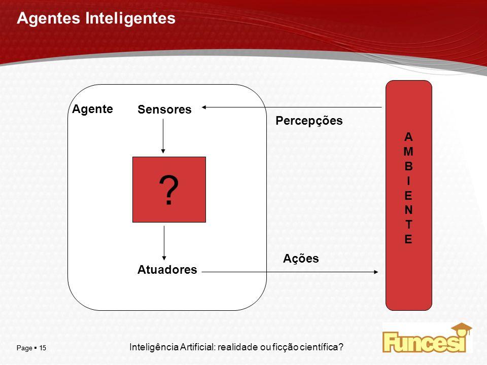 Agentes Inteligentes Agente Sensores Atuadores Percepções Ações A M