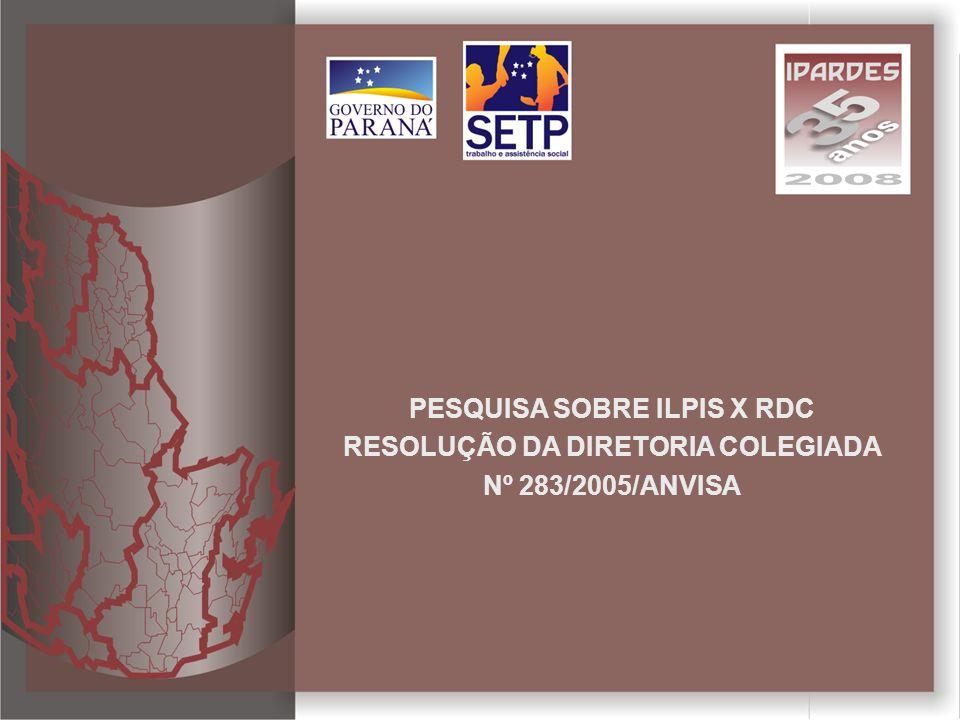 PESQUISA SOBRE ILPIS X RDC RESOLUÇÃO DA DIRETORIA COLEGIADA Nº 283/2005/ANVISA