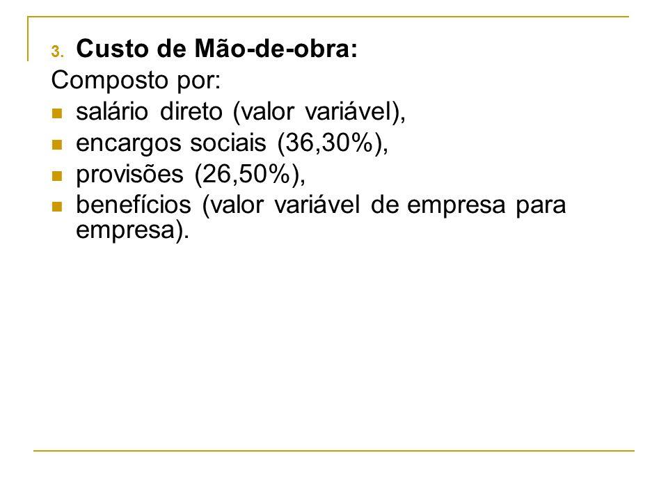 Custo de Mão-de-obra:Composto por: salário direto (valor variável), encargos sociais (36,30%), provisões (26,50%),