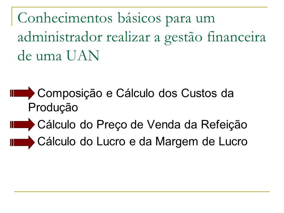 Conhecimentos básicos para um administrador realizar a gestão financeira de uma UAN