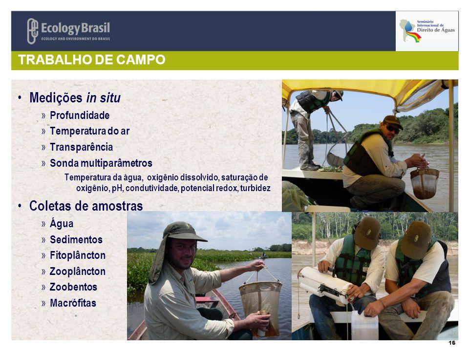 Medições in situ Coletas de amostras TRABALHO DE CAMPO Profundidade