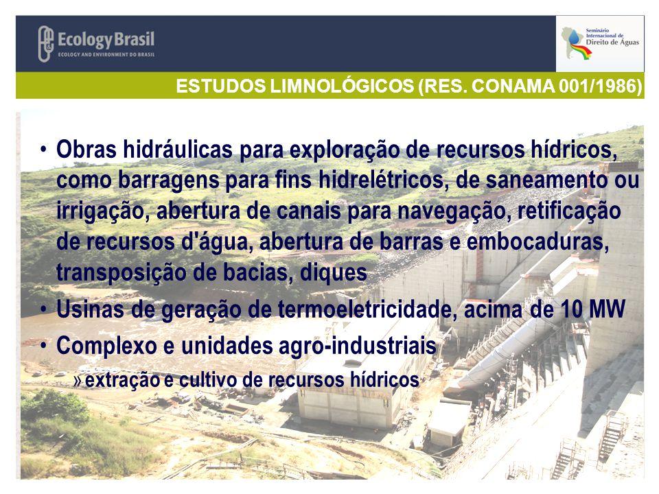 ESTUDOS LIMNOLÓGICOS (RES. CONAMA 001/1986)