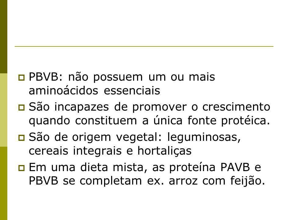 PBVB: não possuem um ou mais aminoácidos essenciais