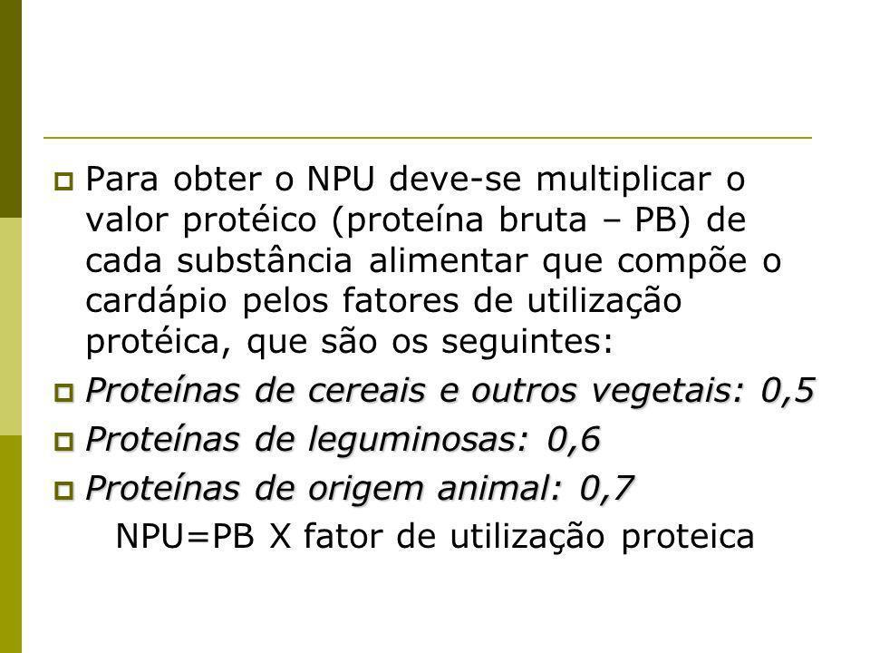 NPU=PB X fator de utilização proteica