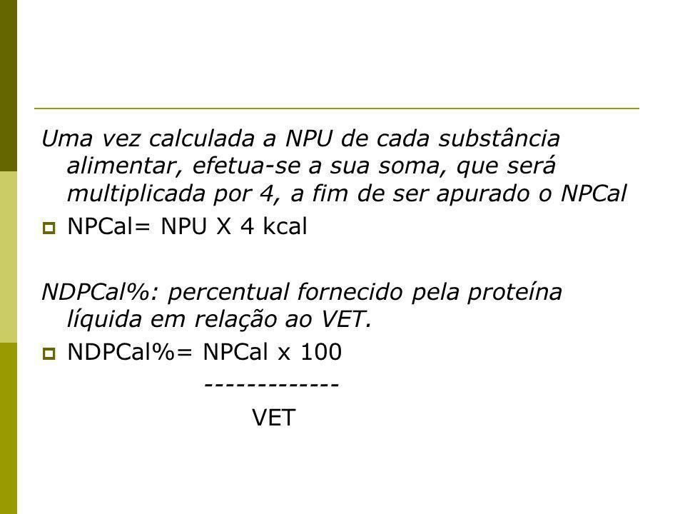 Uma vez calculada a NPU de cada substância alimentar, efetua-se a sua soma, que será multiplicada por 4, a fim de ser apurado o NPCal