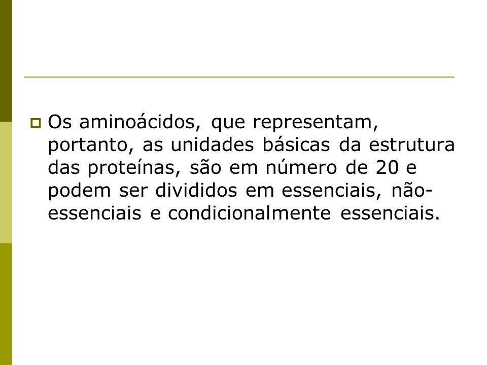 Os aminoácidos, que representam, portanto, as unidades básicas da estrutura das proteínas, são em número de 20 e podem ser divididos em essenciais, não-essenciais e condicionalmente essenciais.