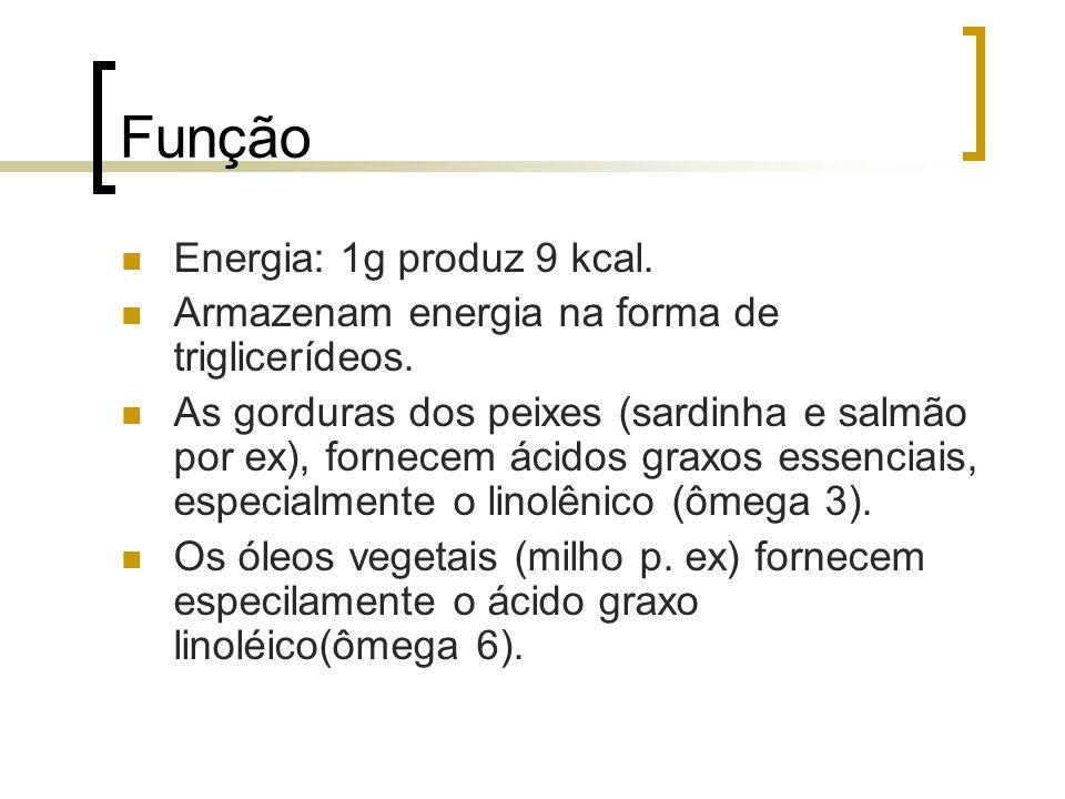 Função Energia: 1g produz 9 kcal.