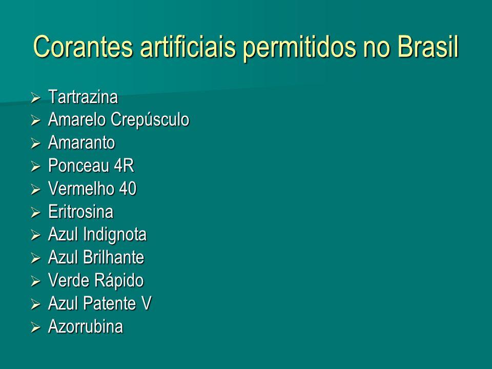 Corantes artificiais permitidos no Brasil