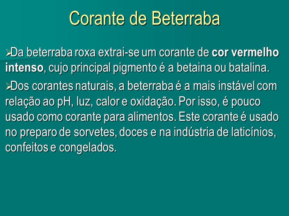 Corante de Beterraba Da beterraba roxa extrai-se um corante de cor vermelho intenso, cujo principal pigmento é a betaina ou batalina.