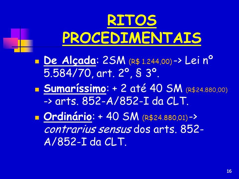 RITOS PROCEDIMENTAIS De Alçada: 2SM (R$ 1.244,00) -> Lei nº 5.584/70, art. 2º, § 3º.