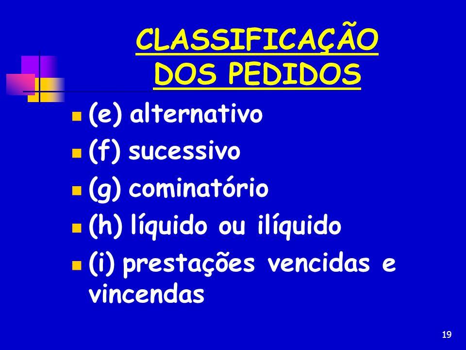 CLASSIFICAÇÃO DOS PEDIDOS