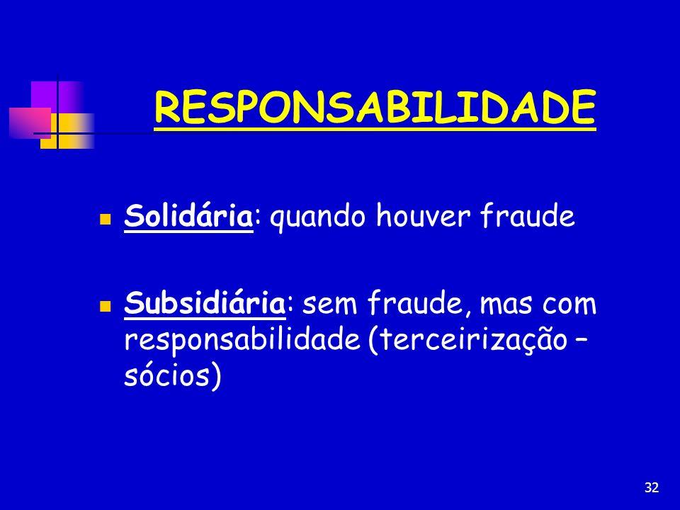 RESPONSABILIDADE Solidária: quando houver fraude