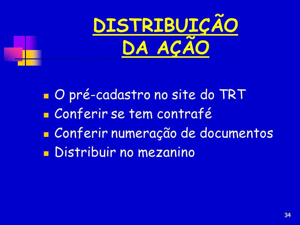 DISTRIBUIÇÃO DA AÇÃO O pré-cadastro no site do TRT